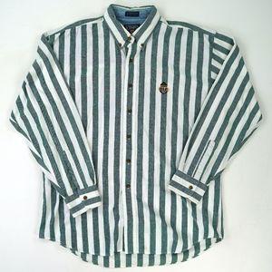 Vtg Chaps Ralph Lauren Shield Striped Green Button